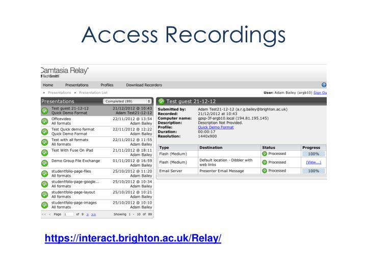 Access Recordings