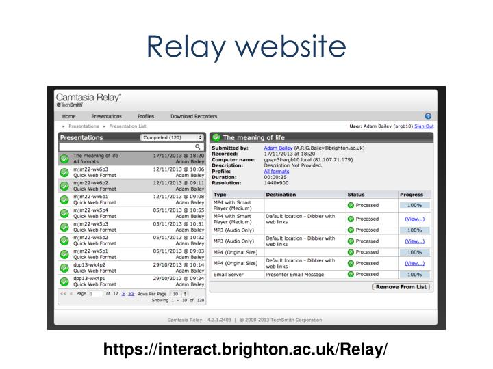 Relay website