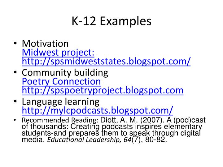 K-12 Examples