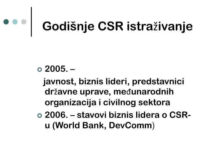 Godišnje CSR istraživanje