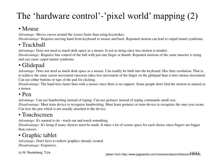 The 'hardware control'-'pixel world' mapping (2)