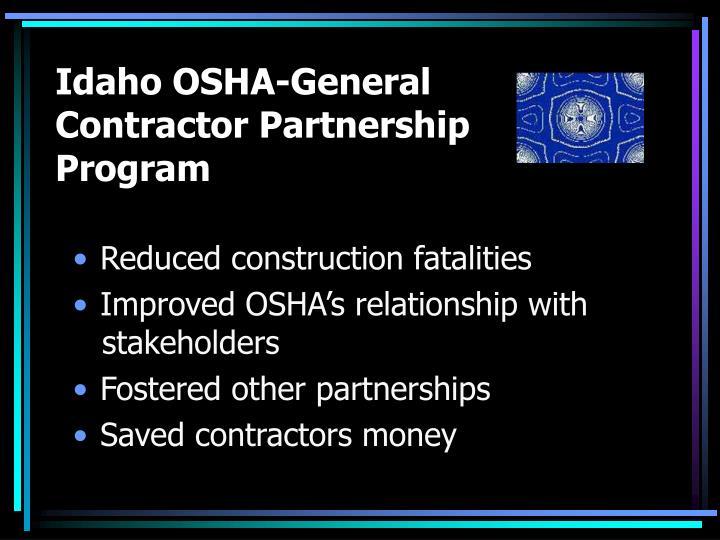 Idaho OSHA-General Contractor Partnership Program