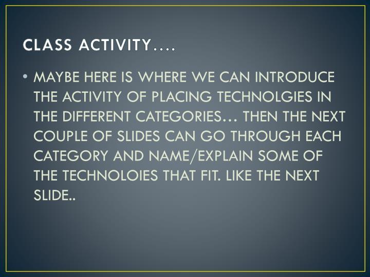 CLASS ACTIVITY….