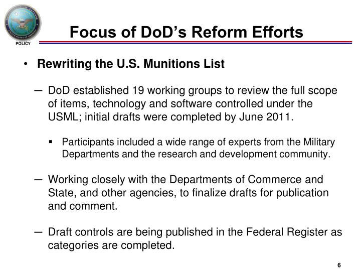 Focus of DoD's Reform Efforts
