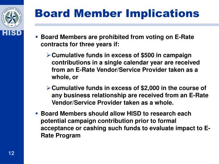 Board Member Implications