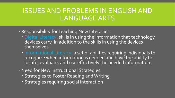 Issues and problems in English and Language Arts