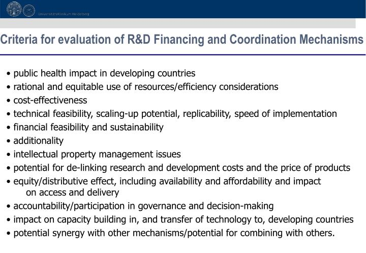 Criteria for evaluation of R&D Financing and Coordination Mechanisms