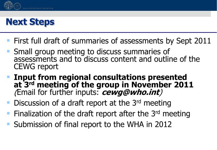 First full draft of summaries of assessments by Sept 2011