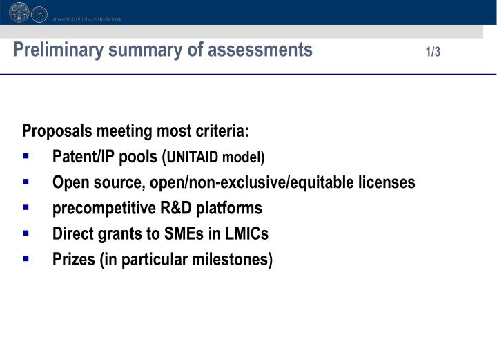 Preliminary summary of assessments