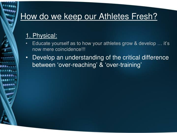 How do we keep our Athletes Fresh?