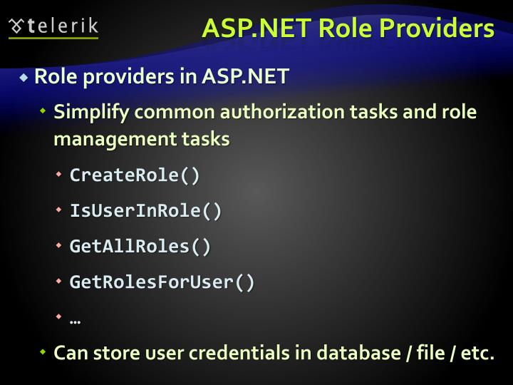 ASP.NET Role Providers