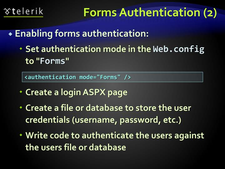 Forms Authentication (2)