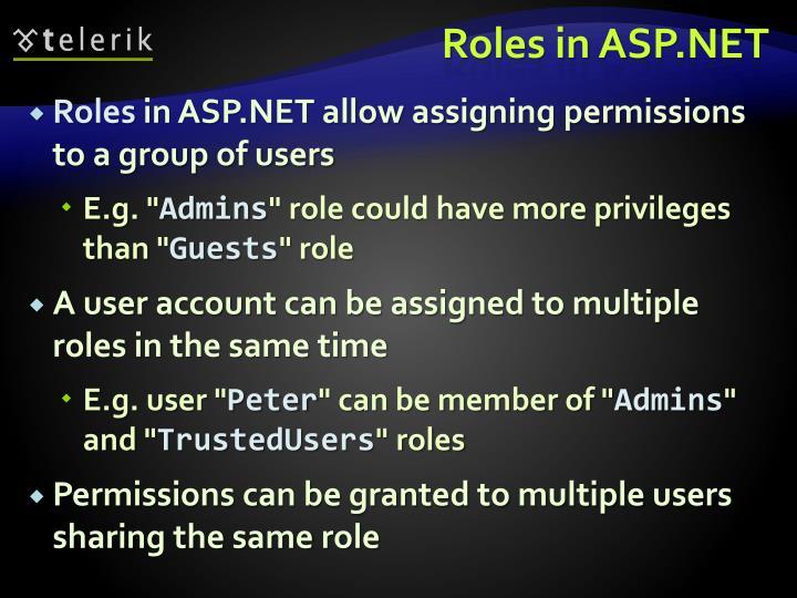 Roles in ASP.NET