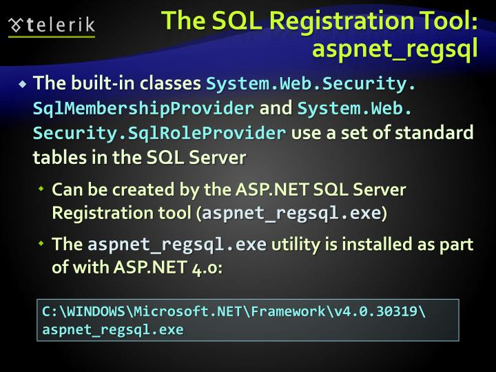 The SQL Registration Tool: aspnet_