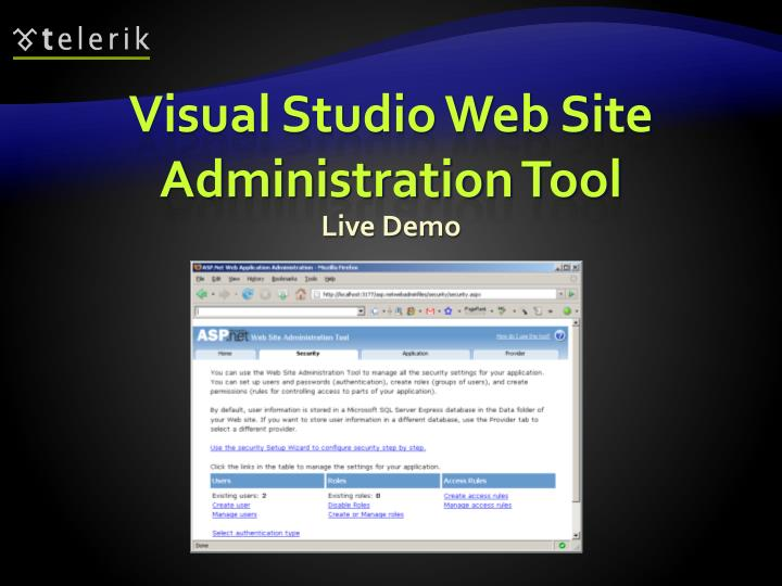 Visual Studio Web Site Administration Tool