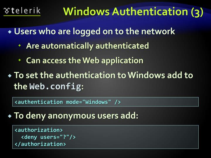 Windows Authentication (3)