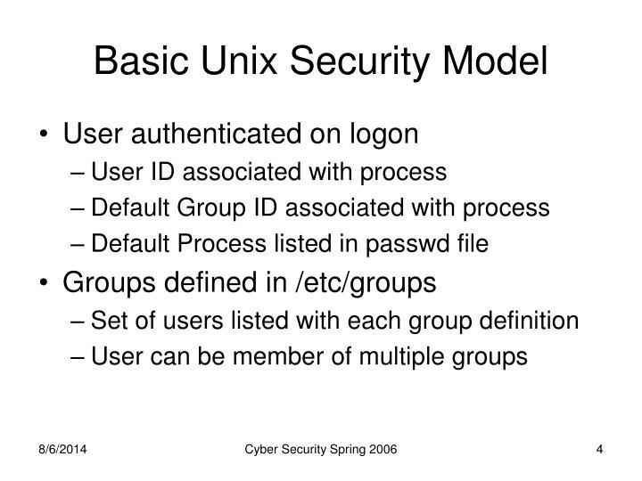 Basic Unix Security Model