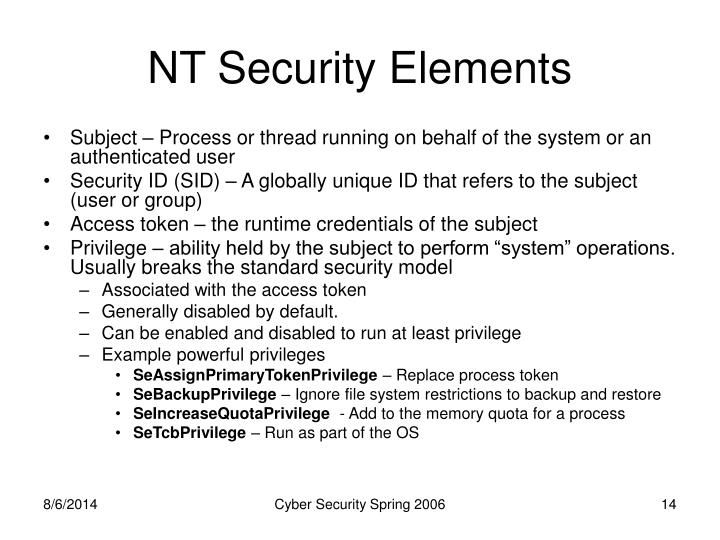 NT Security Elements