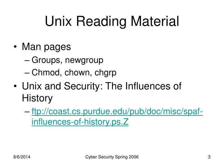 Unix Reading Material