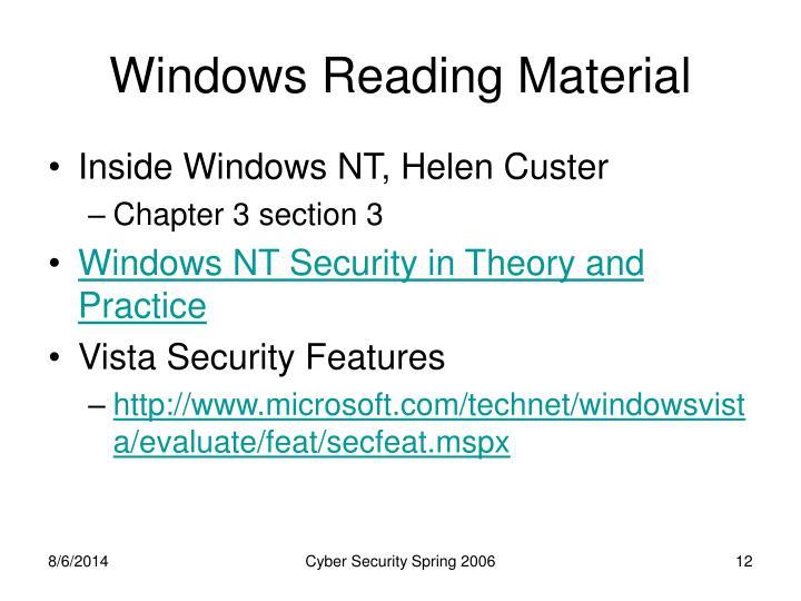 Windows Reading Material