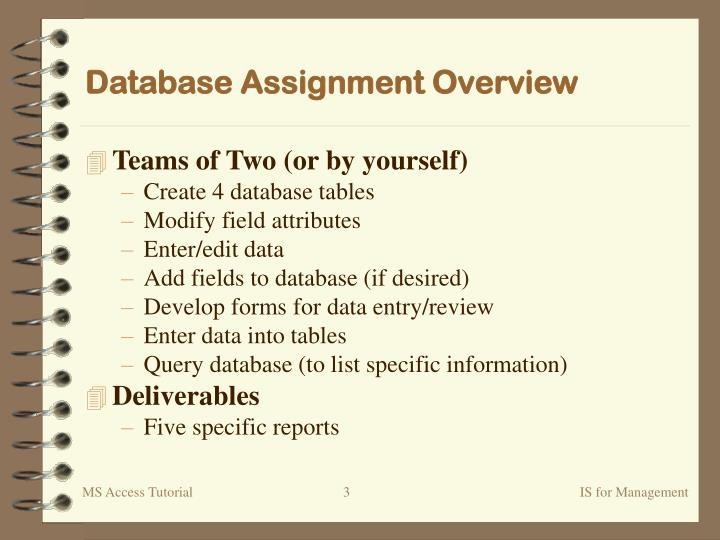 Database Assignment Overview