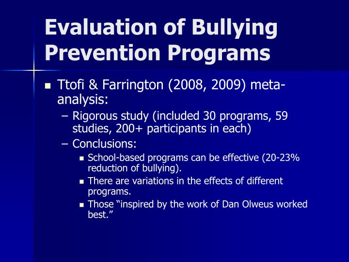 Evaluation of Bullying Prevention Programs