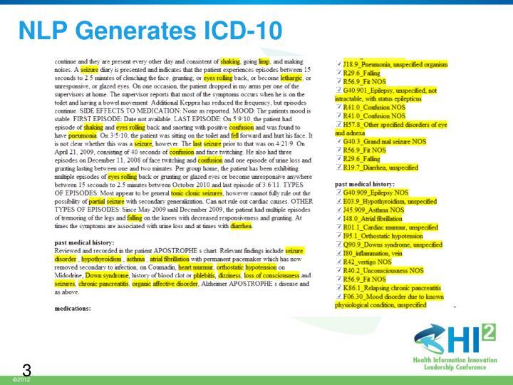 NLP Generates ICD-10