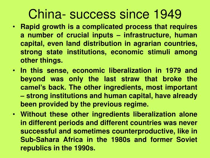 China- success since 1949