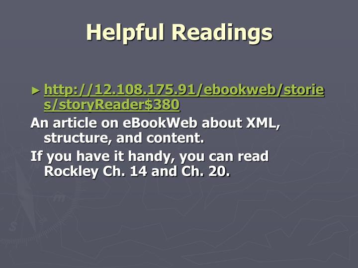 Helpful Readings