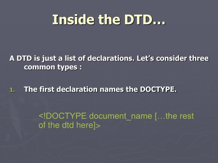 Inside the DTD…