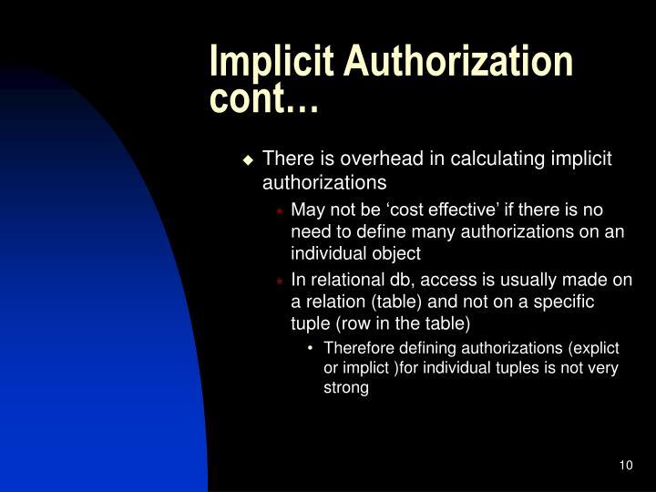 Implicit Authorization cont…