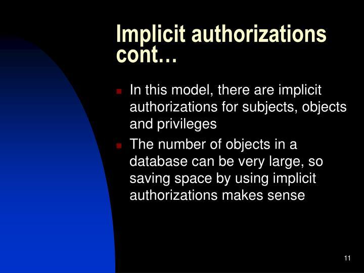 Implicit authorizations cont…