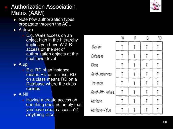 Authorization Association Matrix (AAM)