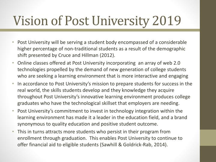 Vision of Post University 2019