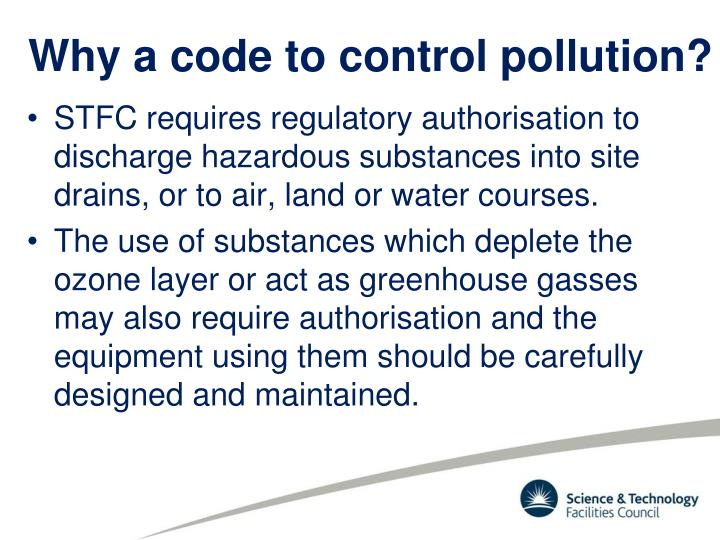 Why a code to control pollution?