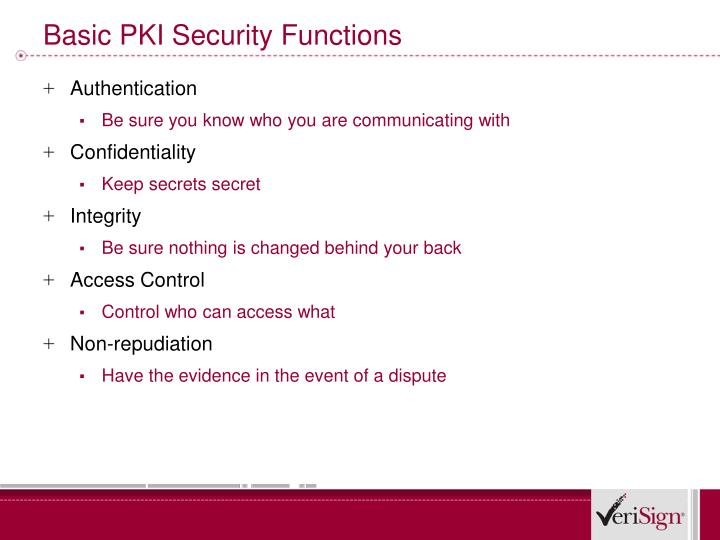 Basic PKI Security Functions