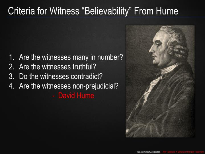 "Criteria for Witness ""Believability"" From Hume"