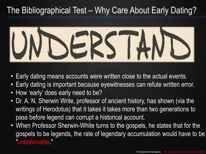 The Bibliographical Test – Why Care About Early Dating