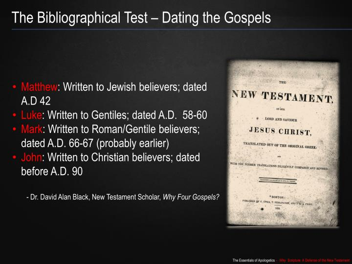 The Bibliographical Test – Dating the Gospels