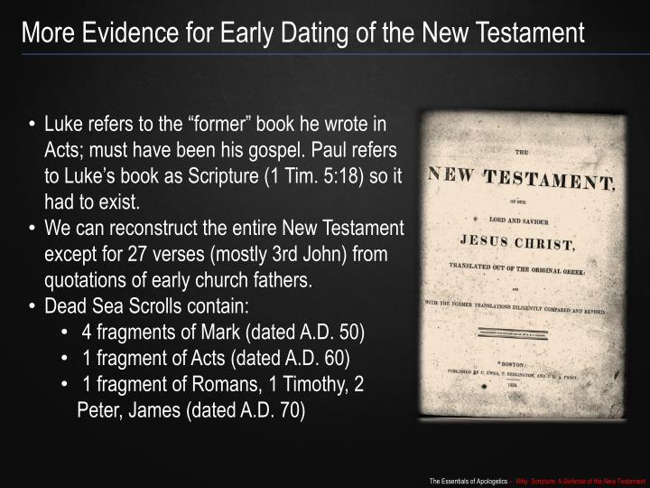 More Evidence for Early Dating of the New Testament