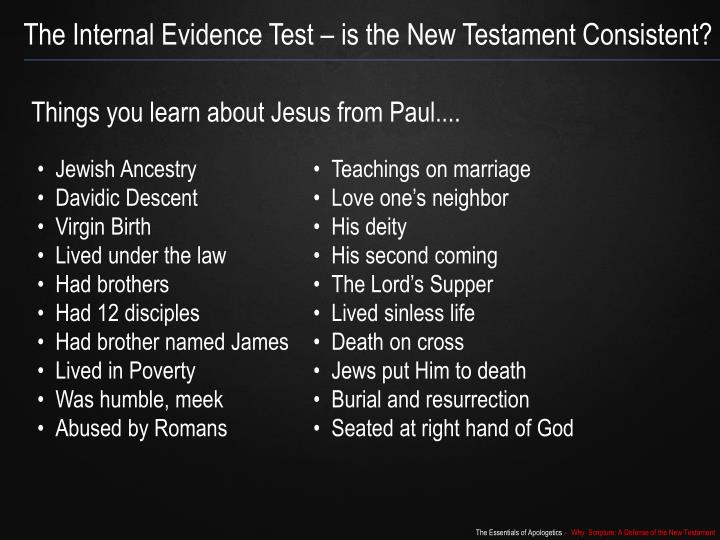 The Internal Evidence Test – is the New Testament Consistent?
