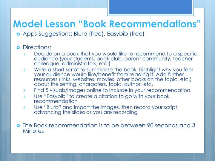 "Model Lesson ""Book Recommendations"""