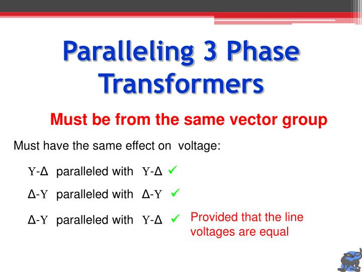 Paralleling 3 Phase Transformers