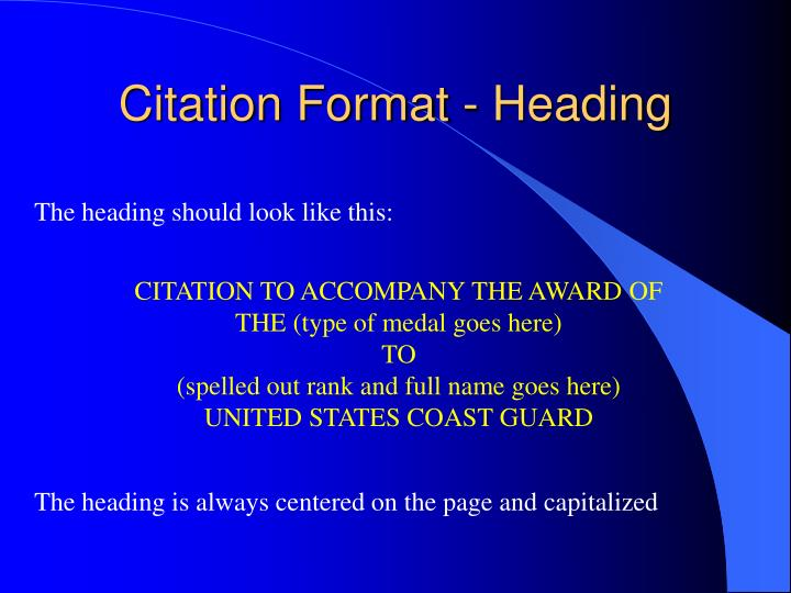 Citation Format - Heading