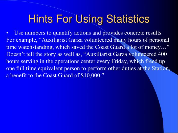 Hints For Using Statistics