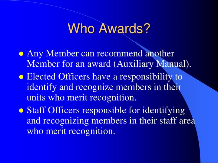 Who awards