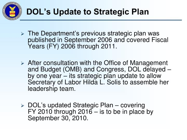 DOL's Update to Strategic Plan