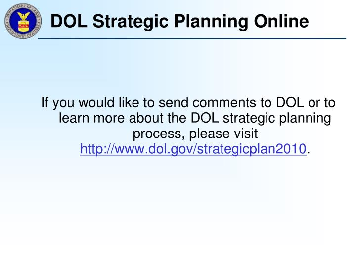 DOL Strategic Planning Online
