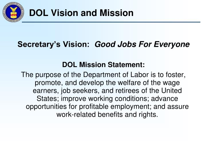 DOL Vision and Mission