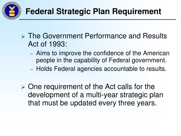 Federal strategic plan requirement